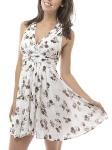 White V Neck Backless Floral Print Dress