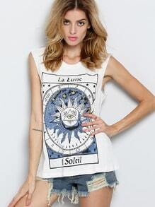 White Sleeveless La Lune Print Tank Top