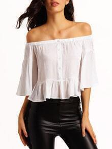 White Off The Shoulder Shirred Ruffle Blouse
