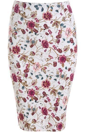 White Slim Floral Skirt