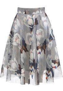 Grey Floral Mesh Flare Skirt