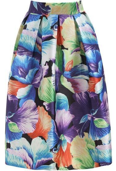Multicolor Floral Flare Long Skirt