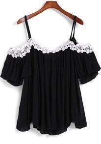 Black Spaghetti Strap Floral Crochet Loose Top