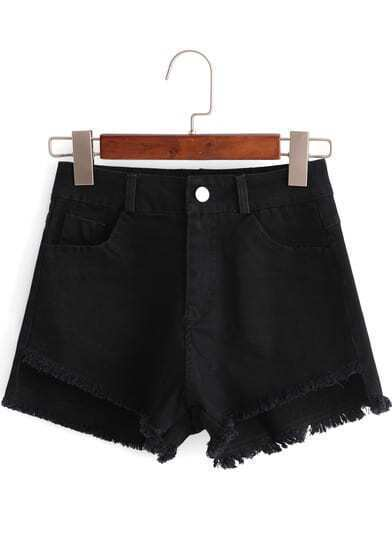 Black Pockets Fringe Denim Shorts