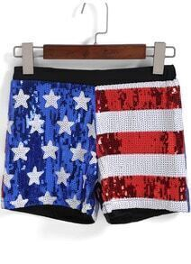 Red Blue Stars Striped Sequined Shorts