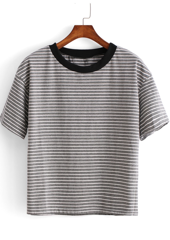 Grey short sleeve striped crop t shirt shein sheinside Grey striped t shirt
