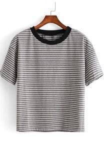 Grey Short Sleeve Striped Crop T-Shirt