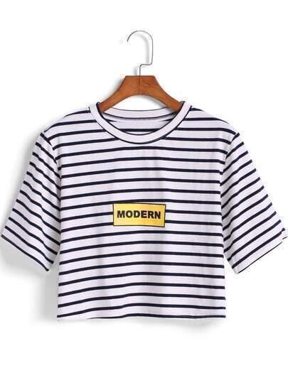 Black White Striped MODERN Print Crop T-Shirt