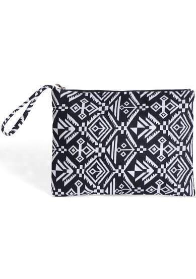 Black White Geometric Print Clutches Bag