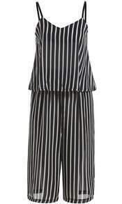 Black Spaghetti Strap Vertical Stripe Chiffon Top Pant