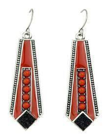 2015 New Model Colored Long Hanging Geometric Enamel Earrings