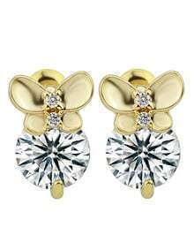 New Coming Gold Plated Imitation Round Crystal Women Stone Earrings