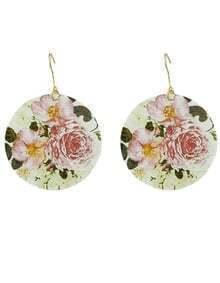 2015 New Coming Shell Colorful Flower Printed Women Hoop Earrings
