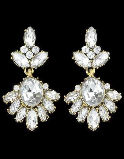 White Rhinestone Stone Earrings