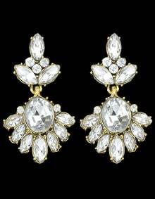 White Rhinestone Stone Earrings
