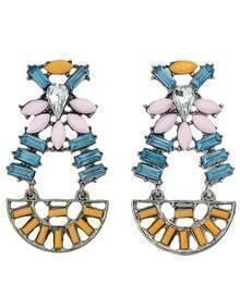 2015 Latest Design Colored Stone Women Big Fashion Earrings