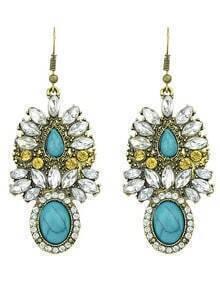 Latest Model Colored Stone Women Big Hanging Earrings