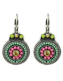 Vintage Style Colored Beads Rounded Women Clip-on Earrings