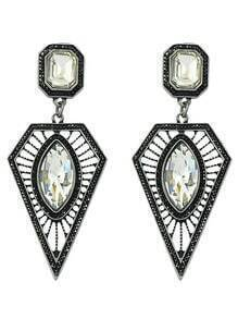Latest Design Rhinestone Women Long Hanging Triangle Earrings