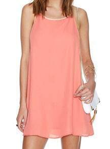Pink Spaghetti Strap Loose Chiffon Dress