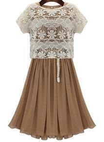 Khaki Short Sleeve Lace Pleated Two Pieces Dress