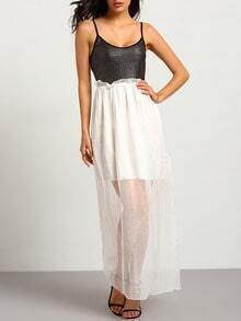 Black White Spaghetti Strap Pleated Chiffon Dress