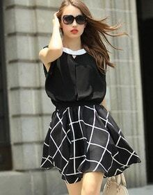 Black Contrast Collar Plaid Loose Dress