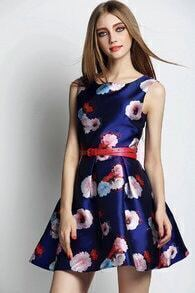 Blue Sleeveless Floral Belt Flare Dress
