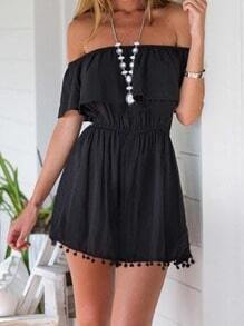 Black Off the Shoulder Ruffle Tassel Dress