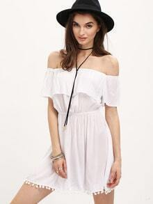 White Off the Shoulder Ruffle Tassel Dress