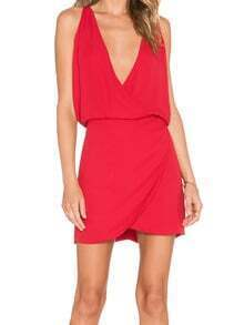 Red Deep V Neck Slim Bodycon Dress