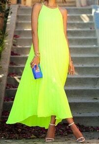 Neon Green Fluorescent Spaghetti Strap Brightly Pretty Fabulous Trendy Pleated Maxi Dress