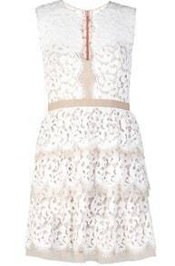 White Sleeveless Hollow Slim Lace Tiered Dress