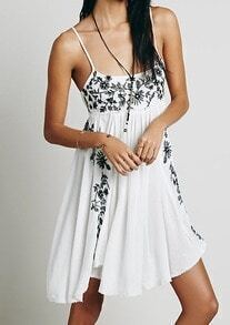 White Spaghetti Strap Embroidered Loose Dress