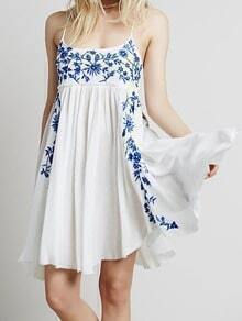 Blue Spaghetti Strap Embroidered Loose Dress