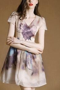 Apricot V Neck Puff Sleeve Floral Organza Dress