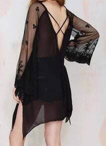 Black V Neck Embroidered Sheer Mesh Blouse