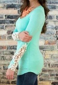 Sky Blue Scoop Neck Lace Long Sleeve Slim Blouse