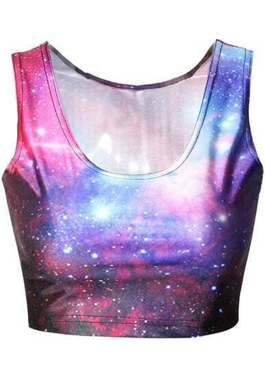 Blue Galaxy Print Crop Tank Top