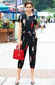 Black Short Sleeve Figure Print Top With Crop Pant