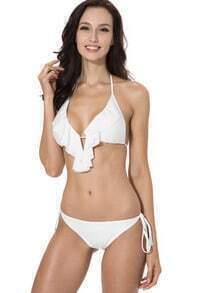 White Full-Lined Ruffle Triangle Top with Brazilian Cut Butt Bikini