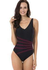 Black Spaghetti Strap Striped Backless Swimwear