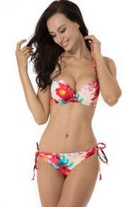 Yellow Floral Add-2-Cups Push-up Halter Bikini