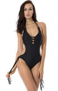 Black Fringe Monokini with a Trio of Straps at Center Front Opening