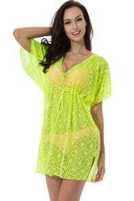 Neon Green Short Sleeve Hollow Drawstring Beach Dress