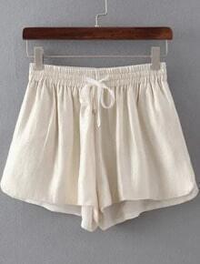 Apricot Drawstring Elastic Waist Shorts