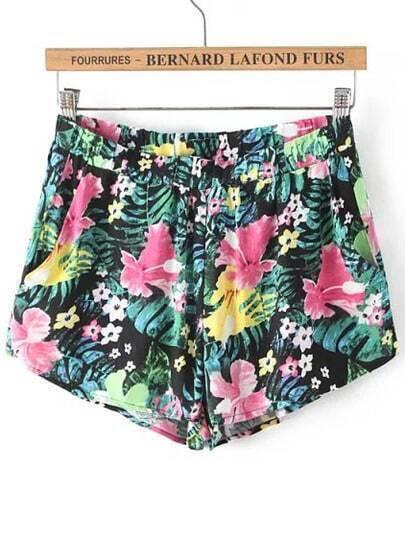 Black Floral Loose Shorts