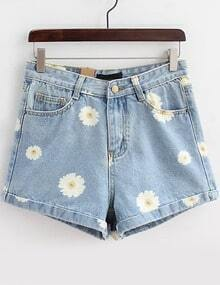 Light Blue Daisy Print Denim Shorts