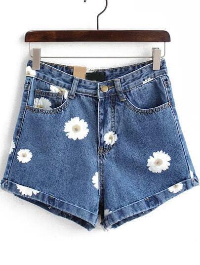 Blue Daisy Print Denim Shorts