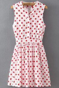 White Stand Collar Polka Dot Bow Dress